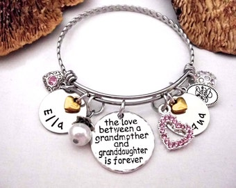 Grandmother and Granddaughter Jewelry, Grandmother Granddaughter Bracelet, Personalized Grandmother Granddaughter Jewelry