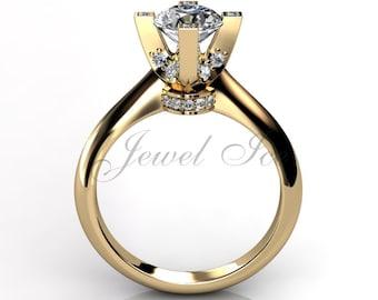 14k yellow gold diamond engagement ring, bridal ring, wedding ring, anniversary ring ER-1026-2