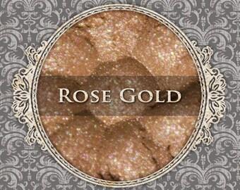 ROSE GOLD Shimmer Eyeshadow: Samples or Jars, Light Pink Gold, Loose Powder Eyeshadow, Vegan Cosmetics, Ships Out in 5-8 Days