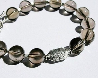 SMOKIN Smokey Quartz and Sterling Bracelet