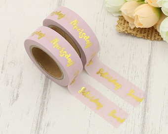 New Gold Foil Days Of The Week Washi Masking Planner Tape