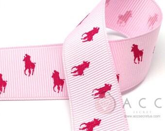 25mm(1'') Pink/Cherry Pink Riding Horse Print Grosgrain Ribbon