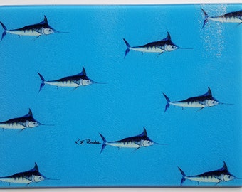 Mini Blue Marlins Cutting Board preppy sportfishing gift boat housewarming