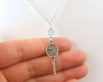 Tennis Necklace- choose a birthstone, Tennis Birthstone, Tennis Jewelry, Tennis Gift, Tennis Pendant, Tennis Charm, I love Tennis, Tennis