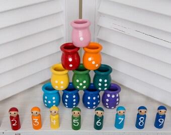 Educational Toys, Waldorf toys, Montessori toys, Natural Toys, Waldorf doll, Peg Dolls, Wooden Peg Dolls, Matching Game