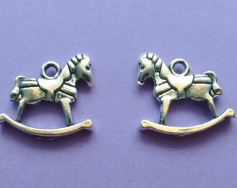 8 Rocking Horse Charms Silver - CS2241