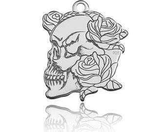 Charm Rosed Skull Sterling Silver 925