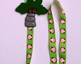 Barrette Keeper Hair Clip Organizer with Palm Trees and Monkeys