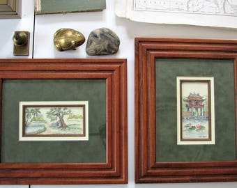 Framed miniature paintings on silk from Vietnam