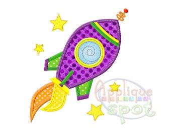 Rocket Ship Baby Boy 4x4 5x7 6x10 Applique Design Embroidery Machine -Instant Download File