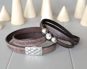 His and Hers Leather Bracelet, Brown Leather Bracelets, Men and Women Bracelets, Pair of Bracelets