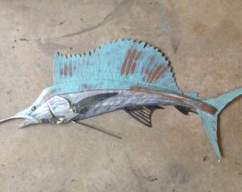 Sailfish Metal Wall Art Fish sculpture 48in  Beach Coastal Tropical Ocean