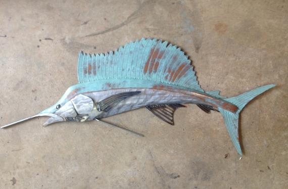 sailfish metal wall art fish sculpture in beach coastal