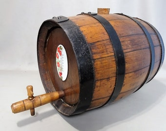 French Vintage Oak wine barrel with wooden crane and thermostat wine making house bar decoration gift for men gift for her woman