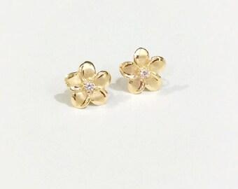 14k plumerias stud earrings