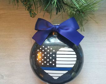 Police Ornament - Thin Blue Line Ornament - Law Enforcement Ornament - Police Officer Gift - Police Wife Gift - Police Support Gift