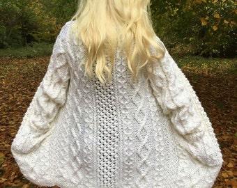 Woman's aran jacket knitting pattern. Instant PDF download!