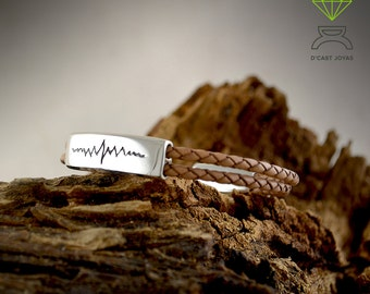 Silver Heart Beat Bracelet, Sterling silver and leather Bracelet,  Mens Jewelry, Handmade bracelet