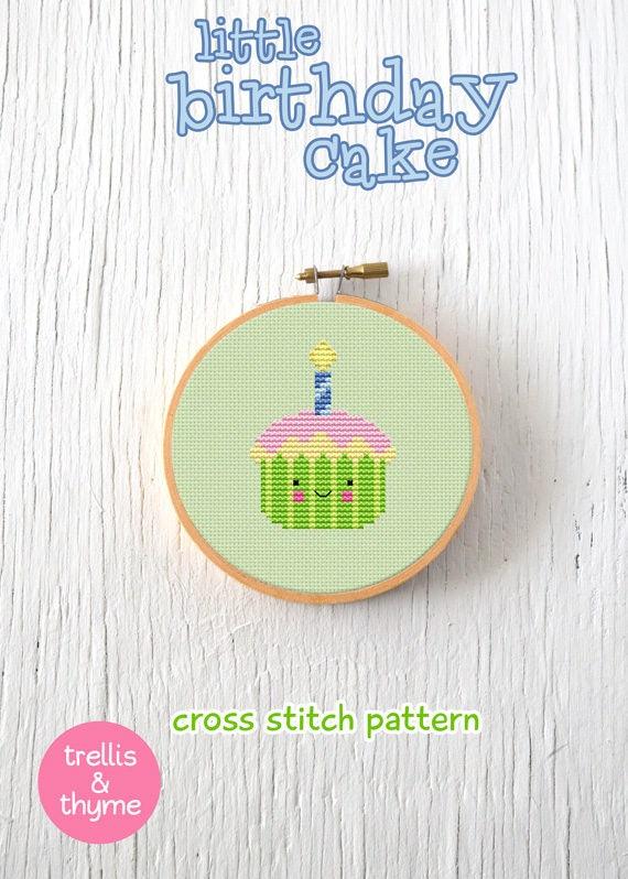 Pdf Pattern Little Birthday Cake Cross Stitch Pattern Kawaii