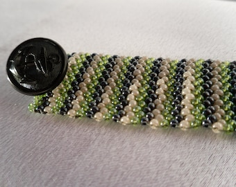 Striped Black, Green and Pearl Peyote Stitch Bracelet with Vintage Anchor Button Clasp