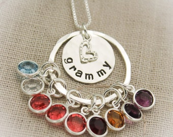 Grandmother Necklace Sterling Silver Hand Stamped Personalize with Grandchildren Birthstones Gifts for Her