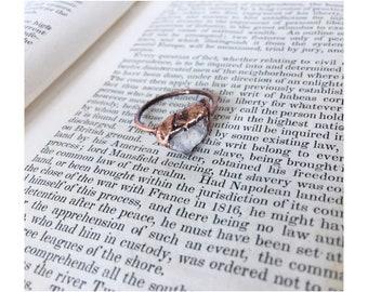 Raw Rose Quartz Ring. Quartz Crystal Ring. Copper Ring. Electrorormed Ring. Gift for Her. Gift Under 50.