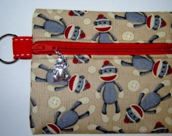 Brown Sock Monkey Print Zipper Pouch Coin Bag Purse with Charm