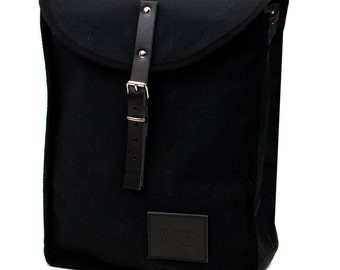 Black & Black, Heap Line Backpack, Retro, Vintage Inspired, Canvas and Leather, Women's Backpack