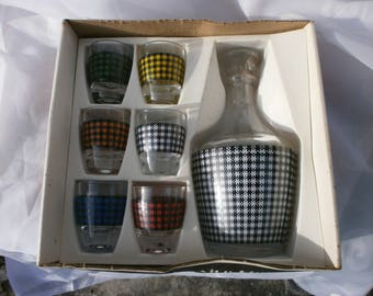 Original Vintage Shot set. Retro, Rockabilly, 1950's style, New old stock.  French Liqueur, liquor, liquour,