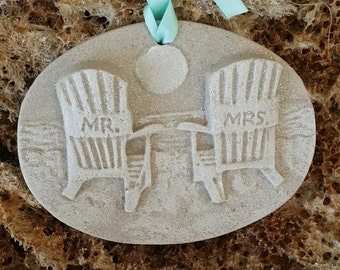 MR. & MRS BEACH Chairs At Sunset Sand Ornament/Favors