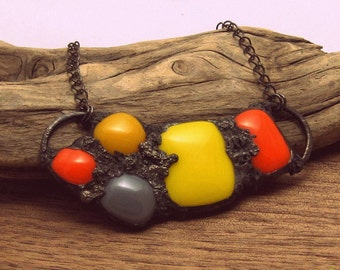 Urban Artifact | Eclectic Fused Glass | Boho Jewelry | Stained Glass Pendant | Orange and Yellow