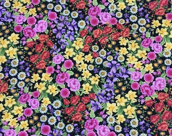Midnight Garden flower quilt fabric by Karen Montgomery for Timeless Treasures fabrics - fabric by the yard