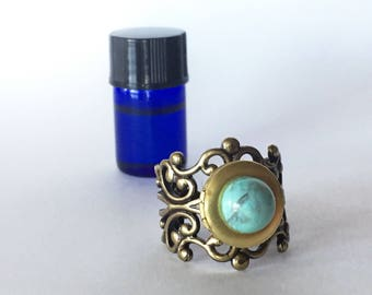 Turquoise and Brass Filigree Aromatherapy Diffuser Rings - Essential Oil Jewelry - Healing Potion Carrier - Romantic Feminine Gift