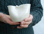 Folded pouring jug for milk - glazed in simply clay