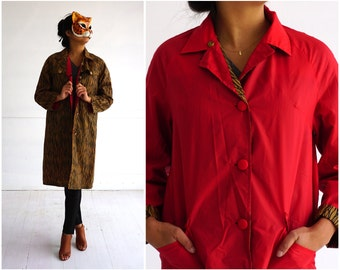 Vintage 1960's Red and Animal Print Reversible Rain Jacket by Handloom | Small/Medium