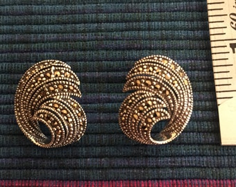 Exquisite Swiss Marcasite Sterling Silver Earrings