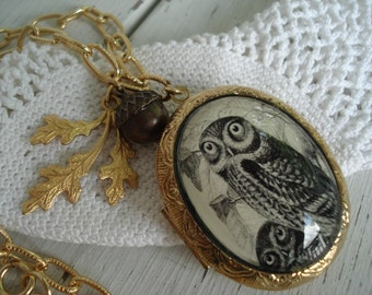 Owl Totem Locket Pendant Necklace Forest Woodland Gold OOAK Artwork