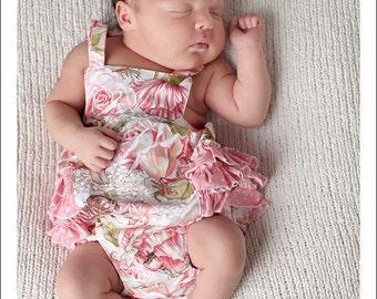 Baby Pattern PDF, Ruffled Baby Romper, Bubble Romper Pattern - boy or girl newborn - 24 months, baby sewing pattern