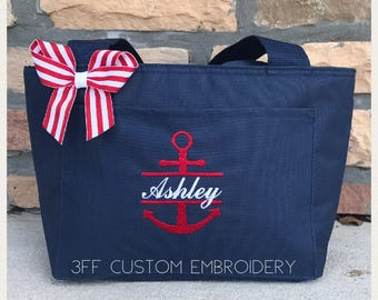 Personalized Lunch Tote/Bag With Name and Anchor