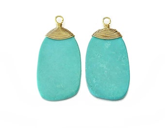 Turquoise Gemstone Pendant . Jewelry Craft Supplies . 16K Polished Gold Plated over Brass  / 2 Pcs - DG015-PG-TQ