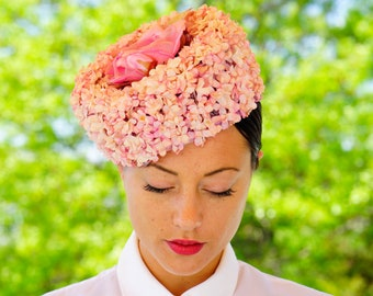 Vintage Floral Hat by Milbrae, Pillbox Hat, Vintage Hat, 1950s Millinery, Vintage Flower Hat. 1950s Flower Hat, Cocktail Hat, Kentucky Derby