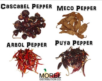 Mix of Dried Chili Peppers: Arbol, Cascabel, Meco, & Puya (8 oz and 1 Lb)