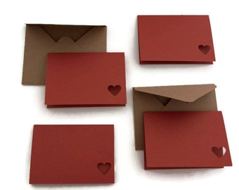 Set 0f 4 Valentines day card -  mini note card - brown envelope - mini red heart card - blank note card