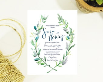 Greenery Watercolor + Modern Calligraphy Wedding Invitation Suite