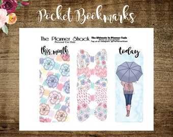 Pocket TN Rainy Days Bookmarks | Bow Bookmark | Pocket TN | Travelers Notebook | Printable | Printable Bookmarks | Cut File | Spring |Floral