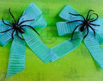Blue Spider hair clip bows