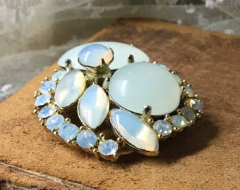 Striking Opalescent Lucite Cabochon Brooch Pin Unsigned Gold Tone Setting 1980's 1990's Evening Wear Round Navette Shapes Femnine Jewelry
