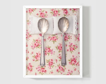 Romantic Photo, Whimsical Kitsch Gift, Spooning Photo, Fine Art Photo 8x10, Bedroom Wall, Weddings Gift, Shabby Chic Print, Floral, Pink