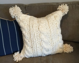 """Chunky Cable Knit Pillow Cover with Pom Poms, 18""""x 18"""""""