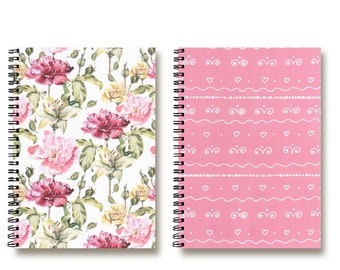 Bullet Journal Notebooks set - Spiral Notebook - Travel Notebook - Recipe Book - Planner - Pink Flowers - Lined | Dotted | Blank - 2N